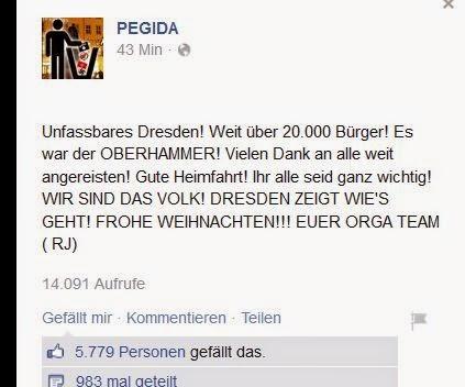 Einen Einblick in die PEGIDA-Fanseite auf Facebook
