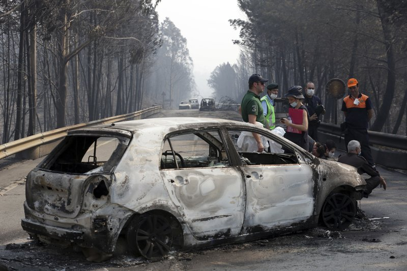 62 dead in central Portugal wildfires; many killed in cars