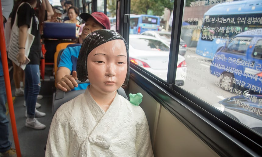 Buses in Seoul install 'comfort women' statues to honour former sex slaves