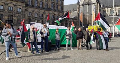 Un rassemblement à Amsterdam pour dénoncer les crimes israéliens contre les Palestiniens