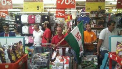 Sevilla, 5 de septiembre: juicio a 20 militantes del SAT por la expropiación de alimentos en Mercadona