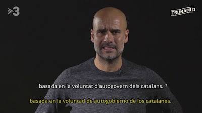 Message to the world from Pep Guardiola on behalf of Catalonia's Tsunami Democràtic